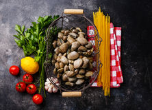 Raw food Ingredients for cooking Spaghetti alle vongole. On dark background Royalty Free Stock Photos