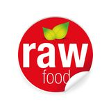 Raw food label tag red Stock Images
