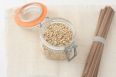 Raw food made with buckwheat Stock Images