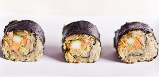 Raw food maki sushi. Rolls with vegan ingredients only stock images