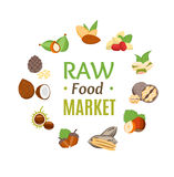 Raw Food Market Round Design Template witch Nuts Icons. Vector Royalty Free Stock Images