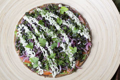 Raw food pizza with vegetables Stock Photography
