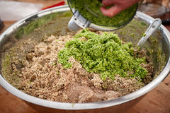 Raw food preparation. In a bowl stock photography