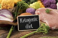Raw food and text ketogenic diet in a signboard. Closeup of a signboard with the text ketogenic diet, a diet to treat the infantile epilepsy, on a pile of some stock photography