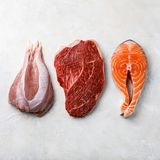 Raw food turkey meat, beef meat and Salmon oily fish steak Royalty Free Stock Image