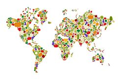 Raw food Vegetable world healthy nutrition map stock illustration