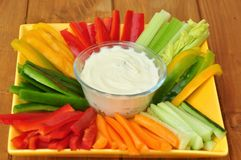 Raw Food With Vegetables And Dip Royalty Free Stock Photo