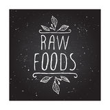 Raw foods - product label on chalkboard Royalty Free Stock Image
