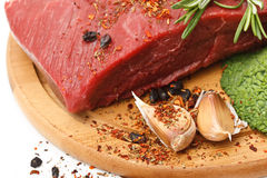 Raw fresh beef on board Royalty Free Stock Images