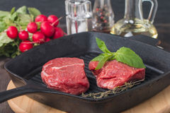 Raw fresh beef Steak on grill pan Stock Images