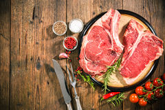 Raw fresh beef steaks Royalty Free Stock Photos