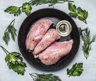 Raw fresh chicken breast seasoned with oil and herbs on an old cast-iron frying pans wooden rustic background close up top view. Raw fresh chicken breast Stock Photography