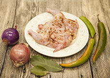 Raw fresh chicken on porcelain plate with lemon and chilli onion   on the wooden background Stock Photos