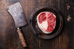 Raw fresh cross cut veal shank for making Osso Buco Royalty Free Stock Photos