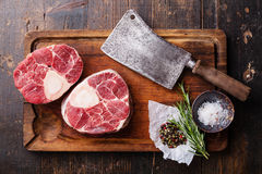 Raw fresh cross cut veal shank for making Osso Buco Royalty Free Stock Photography