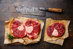 Raw fresh cross cut veal shank for making Osso Buco Royalty Free Stock Images
