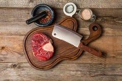 Raw fresh cross cut veal shank Royalty Free Stock Photos