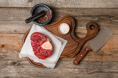 Raw fresh cross cut veal shank Stock Photo