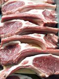 Lamb chops at the butcher royalty free stock photo