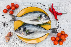 Raw fresh dorado fish on yellow plate and vegetables on white table. Top view. Royalty Free Stock Photo