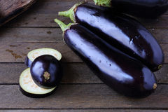 Raw Fresh Eggplant On A Wooden Table Royalty Free Stock Image