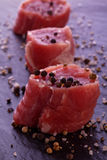 Raw fresh filet. With thyme salt and pepper Stock Image
