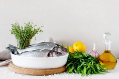 Raw fresh fish, greens and other ingredients on the white wooden. Table against the background of light wall Stock Photos