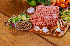 Raw fresh ground beef meat minced meat on plate Stock Photos