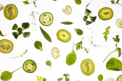 Raw fresh ingredients on white background Royalty Free Stock Images
