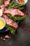 Raw fresh Lamb Meat , oil and seasonings on dark background Royalty Free Stock Photo