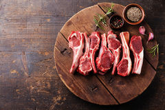 Raw fresh lamb ribs Stock Photos