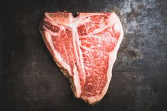 Raw fresh marble T-bone meat on the rustic background. Selective focus. Shallow depth of field stock image