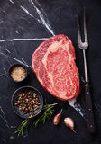Raw fresh marbled meat Angus Steak Ribeye royalty free stock photography
