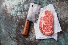 Raw fresh marbled meat Black Angus Steak Ribeye Royalty Free Stock Photo