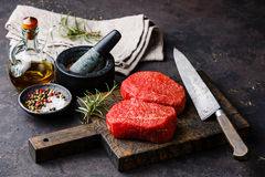 Raw fresh marbled meat Steaks with seasonings stock photo