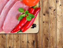 Raw fresh meat with chilli peppers Stock Photo