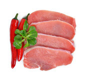 Raw fresh meat with chilli peppers Royalty Free Stock Photography