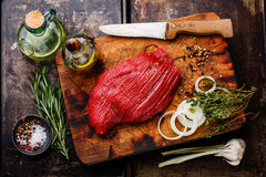 Raw fresh meat filet and condiments Royalty Free Stock Photos