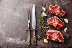 Raw fresh meat lamb mutton saddle. With herbs and spices on stone slate plate stock photos