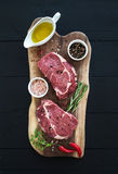 Raw fresh meat Ribeye steak entrecote and Royalty Free Stock Photos