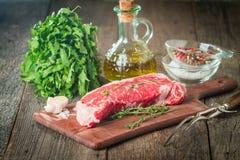 Raw fresh meat ribeye steak Royalty Free Stock Photos