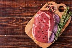 Raw fresh meat Ribeye Steak, seasoning. Stock Photos