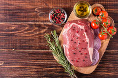 Raw fresh meat Ribeye Steak, seasoning. Royalty Free Stock Image