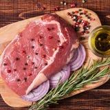 Raw fresh meat Ribeye Steak, seasoning. Royalty Free Stock Images