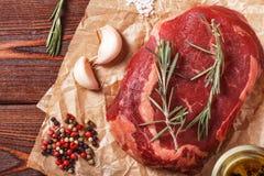 Raw fresh meat Ribeye Steak and seasoning. Stock Photo