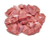 Raw fresh meat sliced in cube Stock Images
