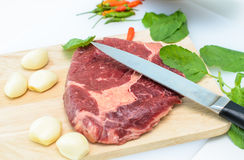 Raw Fresh Meat Slices on Wooden Chopping Board. Ready for Cooking Stock Photography