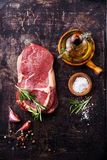 Raw fresh meat Steak Ribeye and seasonings Royalty Free Stock Photos