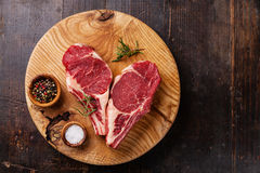 Raw fresh meat Steak with rosemary, pepper and salt Stock Image
