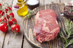 Raw fresh meat Steak with salt and pepper Stock Photos